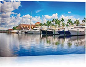 Boats in The Marina on The Manatee River at Bradenton Canvas Art Wall Decor,FL USA Painting Wall Art Picture Print on Canvas,24