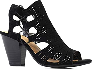 City Classified Open Toe Perforated Lace up Elastic Side Stacked Chunky Heel Sandal