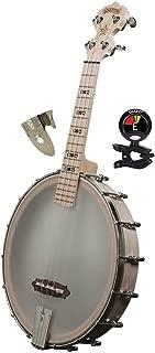 Deering Goodtime Banjo Concert Scale 4 String Banjo Ukulele with Hardwood Bow Tie Inlays - Banjo Kit with Finger & Thumb Picks Banjo and Banjo Tuner