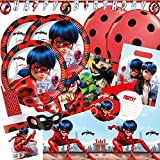 spielum 72-teiliges Party-Set Miraculous Ladybug - Teller Becher Servietten Trinkhalme Einladungen...