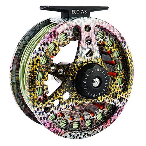 MAXIMUMCATCH ECO Serie Fliegenrolle großer Spulenkern mit Druckguss-Aluminum-Körper Fliegenfischen Rolle in 3/4wt 5/6wt 7/8wt, Silver/Schwarze/Regenbogen, Schnüre Combo (Regenbogen mit Schnur, 7/8wt)