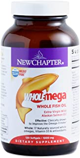 New Chapter Wholemega Fish Oil Supplement with Omega-3, Vitamin D3 and Astaxanthin, 120 Capsules (Pack of 2)