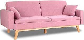 comprar comparacion Don Descanso, Sofá Cama 3 plazas Reine, Tapizado en Tela, Color Rosa, Sistema Apertura de Libro o Clic-clac, Medida sofá: ...