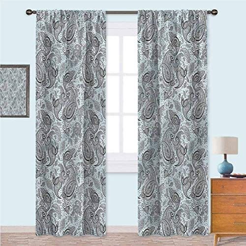 YUAZHOQI Paisley Curtains for Bedroom Tradition Revival Henna Art Window Curtain for Bedroom and Living Room 84 Inches Long(2 Panels)
