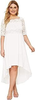 Floerns Women's Plus Size Vintage Lace Dip High Low Cocktail Party Dress