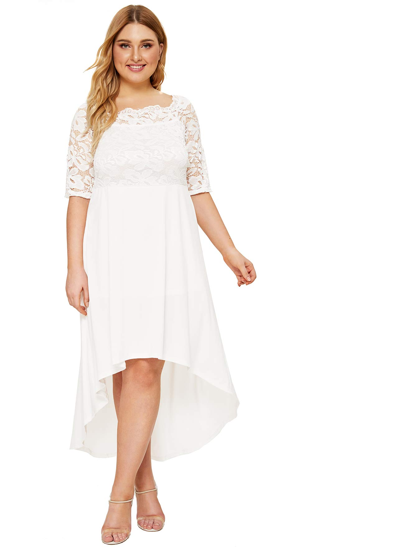 Plus Size Dresses - Women's Half Sleeves V-Neckline Lace Top Plus Size Cocktail Party Swing Dress