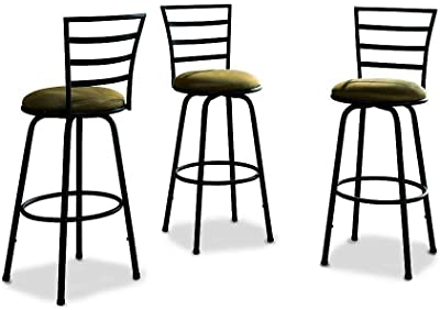 Bar Stools. Three-Pack Swivel Barstool Contains Stools With High Sturdy Metal Frames and Comfortable Microsuede Cushions. Modern Design And Style.