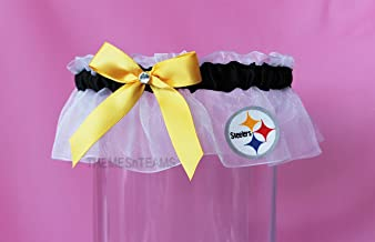 Customizable - Pittsburgh Steelers fabric handmade into bridal prom organza wedding keepsake garter TNT