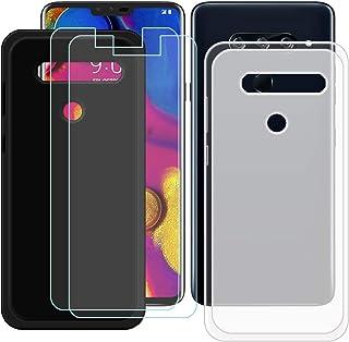 YZKJ [2 stycken skal för LG V40 ThinQ Cover svart halvlätt mjukt silikon skyddande skal TPU skal skal skal + 2 x pansargla...