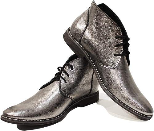 Modello Silaro - Cuero Italiano Hecho A Mano Hombre Piel Color plata Chukka botas Botines - Piel de Cabra Cuero Suave - Encaje