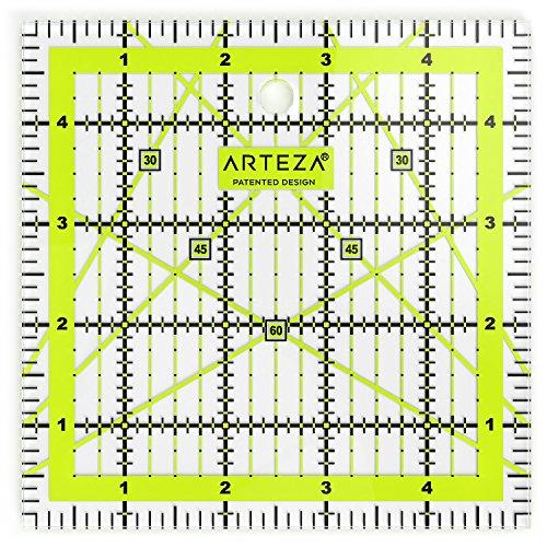 ARTEZA Patchwork-Lineal, transparentes Acryl Quilt-Lineal, 5 x 5 Zoll (13.97 x 13.97cm), Lineal für Quiltstoff mit zweifarbigen Rasterlinien