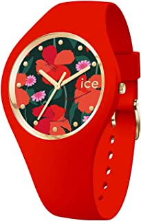 Ice-Watch - ICE flower Floral passion - Montre rouge pour femme avec bracelet en silicone