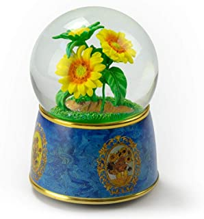 """A Tribute to Van Gogh's """"Sunflowers"""" 18 Note Musical Water Globe - Over 400 Song Choices - Feliz Navidad"""