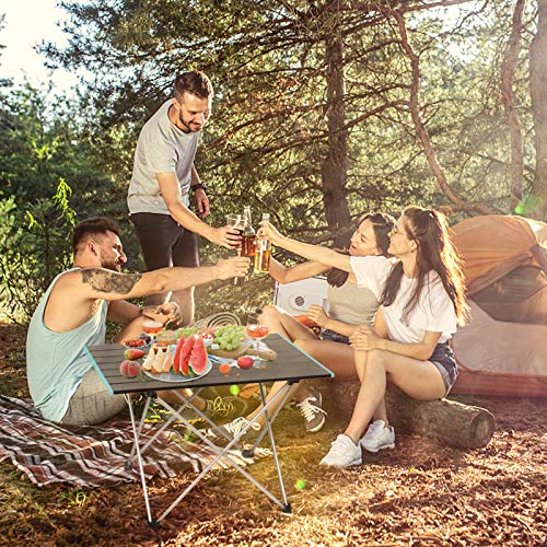 Stream Folding Camping Table with Carry Bag, Lightweight Aluminum Alloy Desk Top, Portable Table Roll Up Table Collapsible Picnic Table for Outdoor Camping, Picnic, BBQ, Beach, Fishing