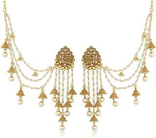 Sukkhi Traditional Brass Gold Plated Wedding Jewellery Bahubali Inspired Long Chain Jhumki Earrings for Women