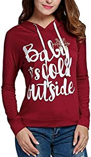 Women Casual Hooded Long Sleeve Christmas Letter Print Pullover Hoodies Blouse Tops