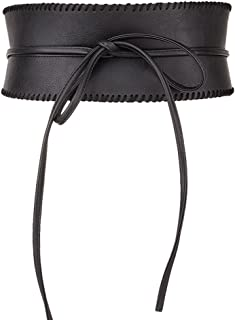 Womens Soft Faux Leather Self Tie Wrap Around Obi Waist Band Cinch Belt