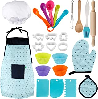 Vanmor Kids Basic Cooking and Baking Set, 26 Pcs Kids Chef Role Play for Little Boys and Girls Includes Apron, Chef Hat, C...
