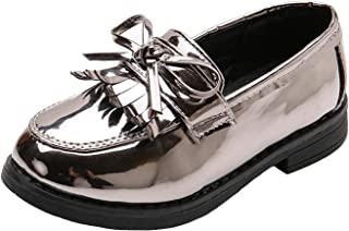 WUIWUIYU Girls Patent Leather Slip-On Penny Loafers Flats Bow Tassel Oxfords Moccasins Dress