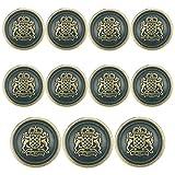 11 Piece Antiqued Bronze Metal Blazer Button Set - Crown Lion- for Blazer, Suits, Sport Coat, Uniform, Jacket