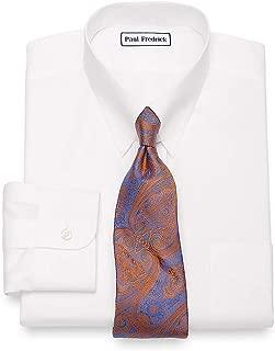 Paul Fredrick Men's Non-Iron Cotton Pinpoint Snap Tab Collar Dress Shirt