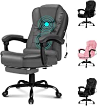 ALFORDSON Massage Executive Office Chair with Footrest PU Leather Home Computer Desk Swivel Chair(Grey Colour)
