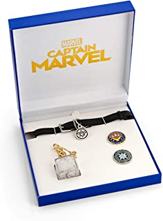 Toynk Marvel's Captain Marvel Exclusive Goose Collar Choker   Includes Bonus Tesseract Key Chain & Captain Marvel Pins   Set of 4 Collectibles
