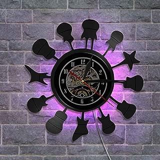 レトロなビニールレコード壁掛け時計、音楽スタイル 常夜灯 設計 リモコン付き クリエイティブウォールデコレーションギフト,B