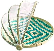 SWZJJ Bamboo Food Serving Tent Covered Bamboo Serving Basket Natural Handmade Tray Fruit Vegetable Bread Storage Basket
