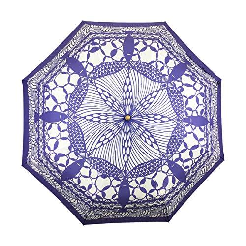 天然竹三つ折りたたみ傘-切絵泡にとと-二藍