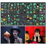 Tatuajes temporales de Halloween, 14 hojas Resplandor en los tatuajes oscuros para niños adultos, Calabaza Murciélagos Bruja Esqueleto Fantasma Tatuajes para decoración de fiesta de Halloween