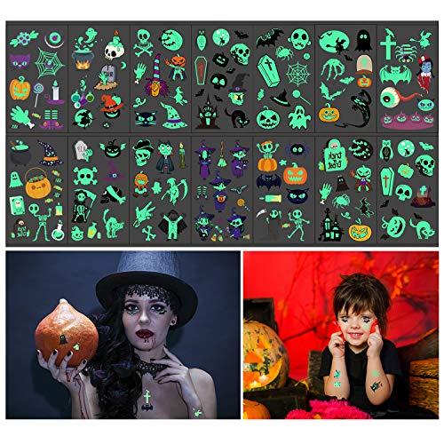 Dream Loom Temporäre Halloween-Tätowierungen, 14 Blätter Im Dunkeln leuchten Tattoos für Kinder Erwachsene, Kürbis Fledermäuse Hexe Skeleton Ghost Tattoos für Halloween Party Dekor (Bunt)