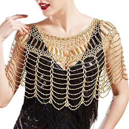 Coucoland 1920s Stola Pailletten Damen Retro Schal Umschlagtücher Hochzeit Braut Schal Schulter Bedeckung für Abendkleid 20er Jahre Stil Gatsby Kostüm Accessoires (Gold)