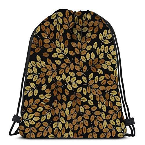 Kordelzug Taschen Rucksack Patten mit stilvollen Herbstlaub Leinen Fliesen Design Stoff und Mo Reiserucksäcke Tote School Rucksack