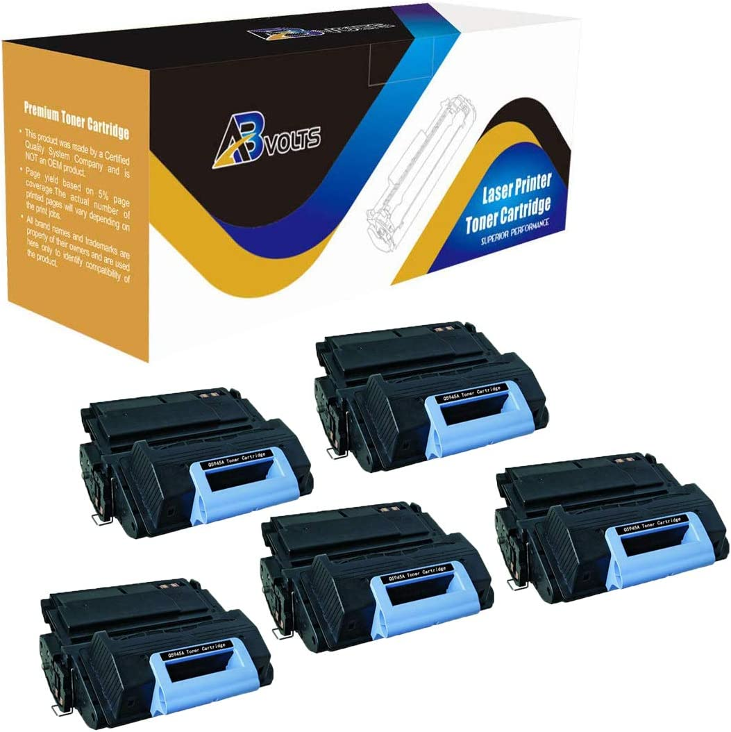 AB Volts Compatible Toner Cartridge Replacement for HP Q5945A for Laserjet 4345 4345MFP 4345X 4345XM 4345XS (Black,5-Pack)