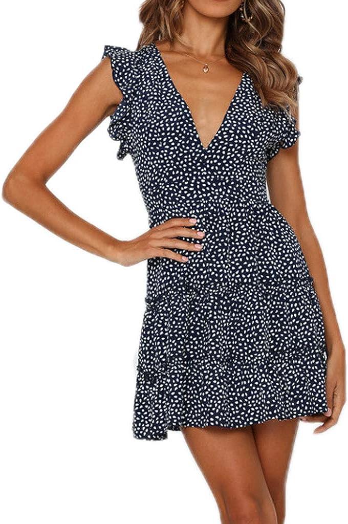 pasidvy Women Summer Deep V Neck FloralRuffle Hem Mini Dress Cocktail Party Short Dress