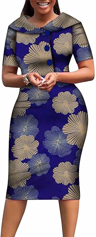 African Print Dresses for Women Cotton Mid-Dress Dashiki Knee-Length Traditional Clothing