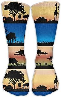 Hunter qiang, Hombres mujeres Africanas animales salvajes Akazienbäume algodón ocupación deporte calcetín Lässig largo: 50 cm