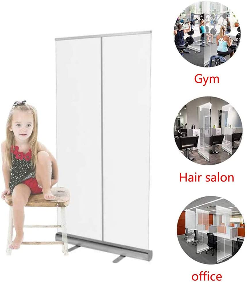 Aluminum Alloy Roll up Floor Standing Sneeze Guard,Transparent Banner,Hygiene Screens Office//Restaurant//Hair Salon Partition Screens,Easy to Install