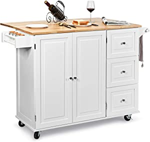 Giantex Kitchen Island Cart with Drop-Leaf Tabletop, Large Trolley Cart with Large Cabinet, 3 Drawers, Spice Rack, Towel Rack, Kitchen and Dining Room Utensils Organizer on Wheels (White)
