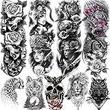 Rejaski 9 Sheets Sexy Full Rose Flower Arm Temporary Tattoos For Women Man Mask Owl Makeup Skull Fake Tattoo Sticker Washable Extra Large Wolf Leopard Armband Body Art Realistic Leg Shoulder Tattoos