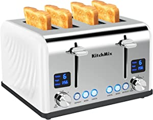 Toaster 4 Slice, KitchMix Bagel Stainless Toaster with LCD Timer, Extra Wide Slots, Dual Screen, Removal Crumb Tray (White)