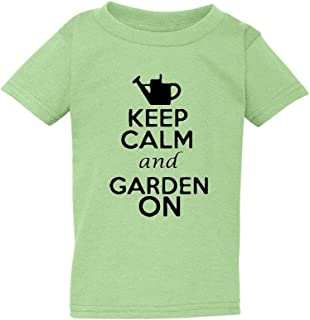 Keep Calm and Garden On Gardening Plants Flowers Toddler Kids T-Shirt Tee