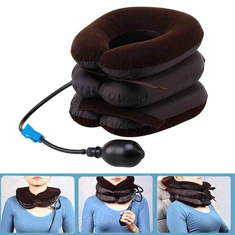 持続するダイジェスト必要Langba エアーネックストレッチャー 空気充填枕 首サポーター 頚椎牽引 頸椎 首 肩こり 解消 疲労回復 3段式 ネックストレッチャー ポンプ ネックマッサージ器 家庭用/車用 両親へのプレゼント