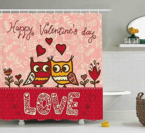 Nyngei Díade San Valentín de deBúhos Enamorados Imprimir Socios Lindos Parejas Estilo Bohemio Corazones Flores Puntos del con Rosa Rojo Amarillo