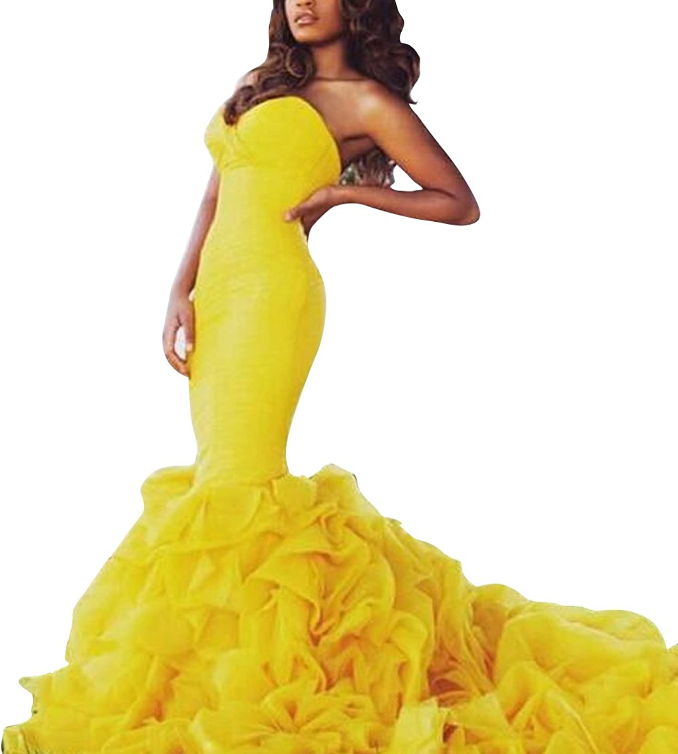 Adonis Pigou Women's Sexy Yellow Mermaid Formal Evening Party Dress Prom Gowns