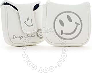 19th Hole Custom Shop Smile Face Golf High-MOI Mallet Putter Headcover, Heel Shaft, White, Head Cover