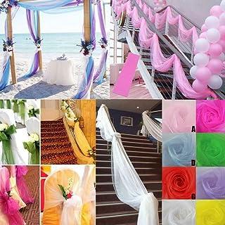 Colorful Modestoff universal Stoff 500cm x 48cm Organza Dekostoff Transparent - Hauch Zart - für Hochzeit Party Dekoration (Weiß)