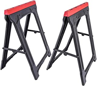 JEGS Folding Sawhorses (Pair) | 350 LBS Capacity | Weather-Resistant Polypropylene | Dimensions: 21 Inches Long x 1.75 Inc...