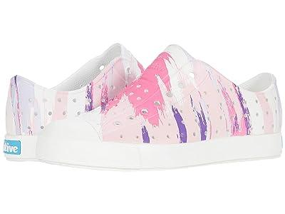 Native Kids Shoes Jefferson Print (Little Kid) (Shell White/Shell White/Pink Multi Splatter) Girls Shoes